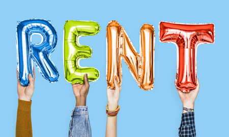 Colorful alphabet balloons forming the word rent Standard-Bild - 112145841