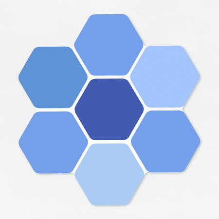 Blue hexagons shaped like a honey comb