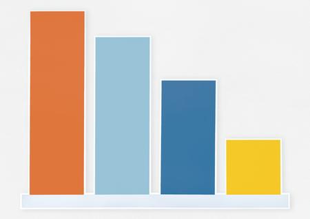 Decreasing bar graph icon isolated