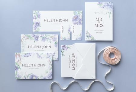Wedding invitation set with card mockups Stok Fotoğraf