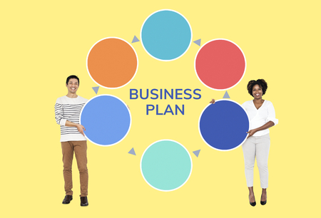 Partners with a business plan 写真素材