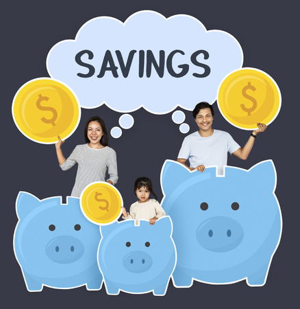 Happy family savings for their future