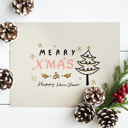 Merry X'Mas and Happy New Year card mockup Stock Photo