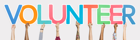 Colorful letters forming the word volunteer