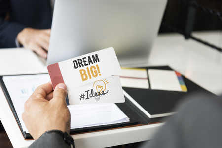 Note with a phrase Dream Big and word Ideas Фото со стока