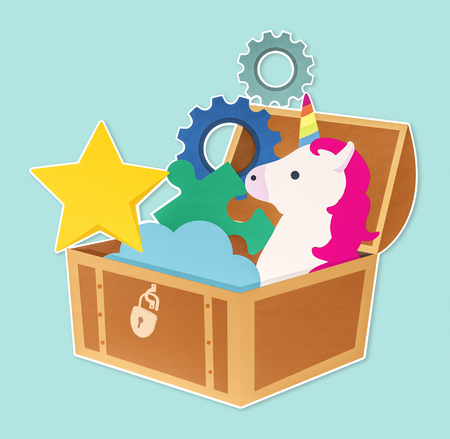 Creative idea icons in a treasure chest Foto de archivo - 112151101