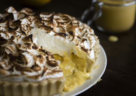 Lemon meringue pie food photography