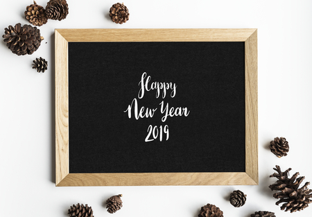 Happy new year greeting design mockup
