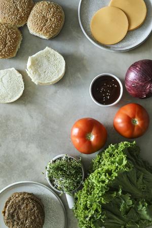 Flatlay of vegan cheeseburger recipe ingredients