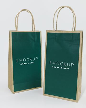 Two green paper bag mockups 版權商用圖片