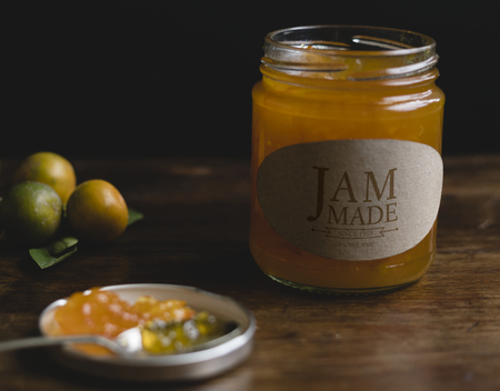 Homemade orange jam in a jar 写真素材