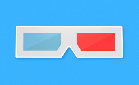 3D glasses with blue and red lenses