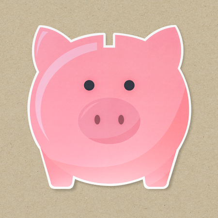 Pink piggy bank isolated on beige background