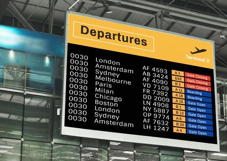 Ankündigungsbildschirm-Mockup am Flughafen
