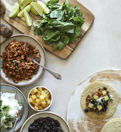Homemade vegan taco ingredients on the table 版權商用圖片