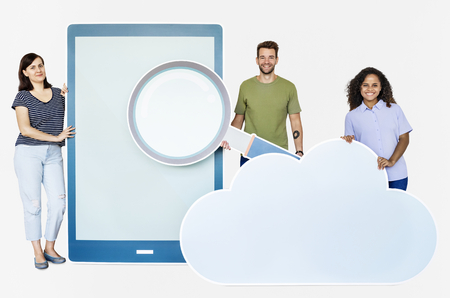 People with paper cutouts of magnifying glass, tablet, and cloud symbol