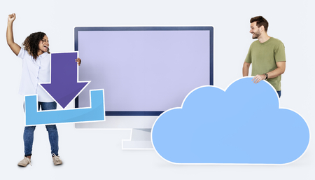 People with icons related to cloud technology 免版税图像