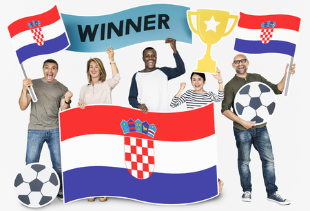 Diverse football fans holding the flag of Croatia 스톡 콘텐츠 - 112593756
