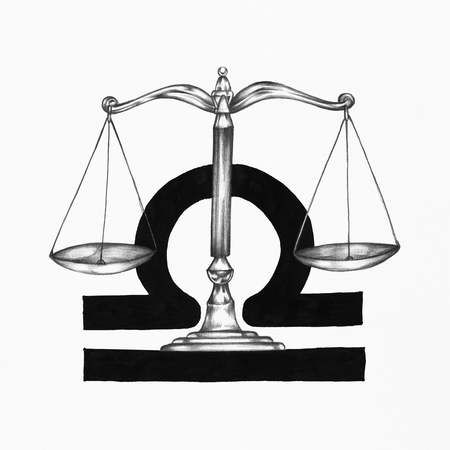 Hand drawn horoscope symbol of Libra illustration Stok Fotoğraf - 112595171