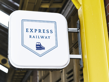 Express railway station signage mockup Stok Fotoğraf