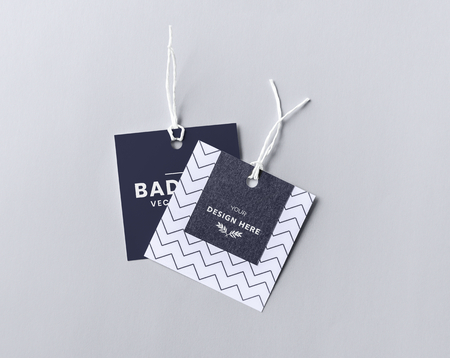 Pair of fashion label tag mockups