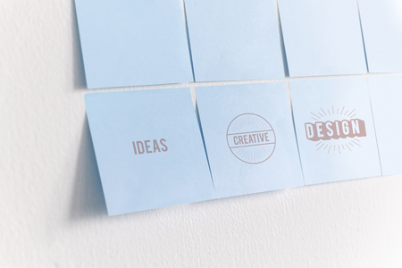 Paper note mockups on the wall