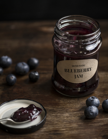 Homemade blueberry jam in a jar