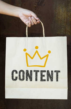 Text Content on a paper bag Stock Photo