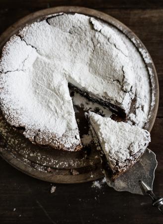 Chocolate fudge cake food photography recipe idea Фото со стока