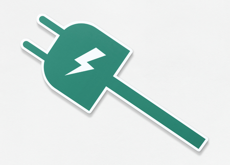 Electric plug icon on isolated
