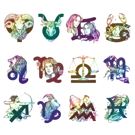 Zestaw ilustracji symboli horoskop
