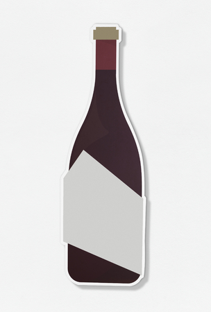 Wine glass bottle icon on isolated Stock Photo