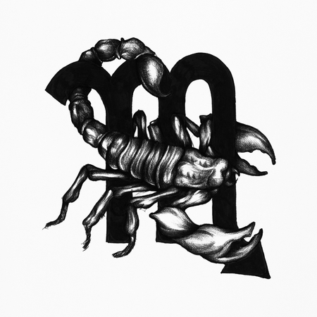 Hand drawn horoscope symbol of Scorpio illustration