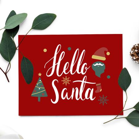 Hello Santa Christmas card mockup 写真素材