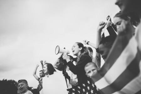 Un groupe d'activistes américains proteste Banque d'images