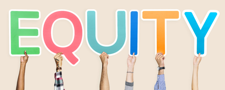 Colorful letters forming the word equity
