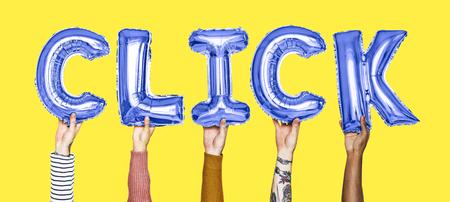 Hands holding cilck word in balloon letters Standard-Bild