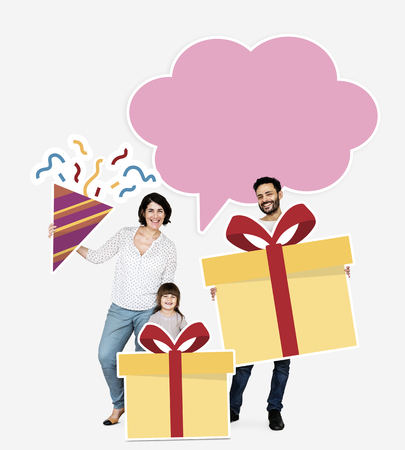 Happy family holding gift box icons Banco de Imagens