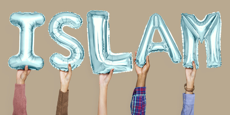 Hands holding Islam word in balloon letters