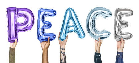 Colorful alphabet balloons forming the word peace Stock Photo