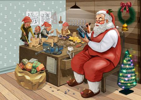 Dibujado a mano Santa Claus haciendo regalos de Navidad con sus elfos en un taller