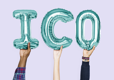 Hands holding ICO word in balloon letters