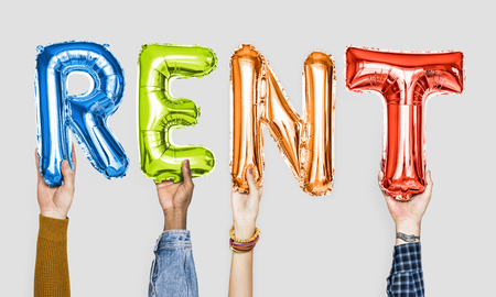 Colorful alphabet balloons forming the word rent Standard-Bild - 112892408