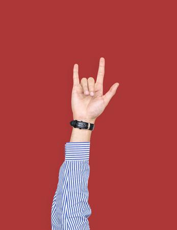 Hand with love expression gesture Foto de archivo - 112893486