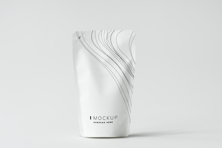 White sachet mockup against white background