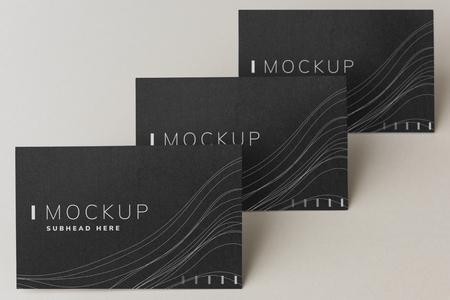 Set of black business card design mockup