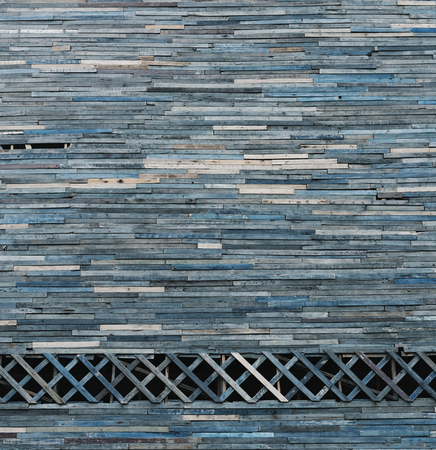 Wall decorated with dyed blue wood Banco de Imagens