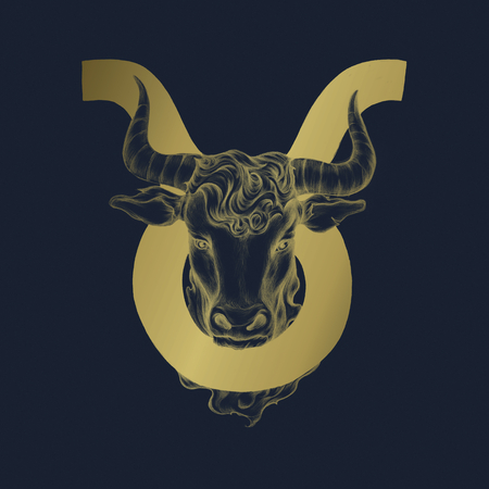 Hand drawn horoscope symbol of Taurus illustration Фото со стока
