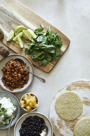 Homemade vegan taco ingredients on the table Stock Photo