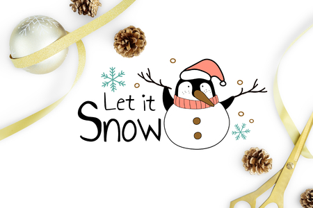 Let is snow Christmas penguin card mockup Imagens - 113085688